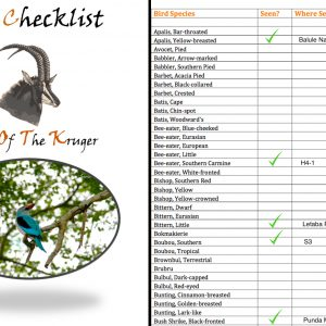 Kruger Park Bird Species Checklist PDF Download