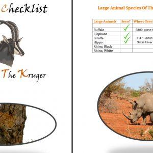 Kruger National Park Mammal Checklist