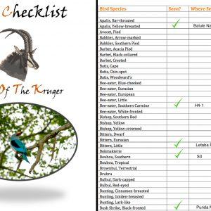Kruger Park Bird Species Checklist PDF Download